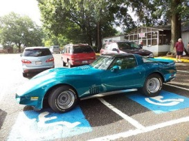 corvette-taking-up-two-handicap-spaces