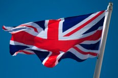 A Union Jack flag flies in Gibraltar on