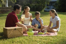 Family having picnic.